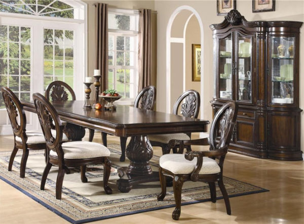 An antique dining table and chairs