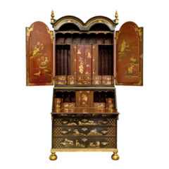 Black Painted Lacquered Bureau Bookcase