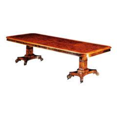 Burr Walnut Twin Pedestal Table