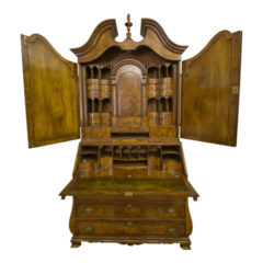 Fantastic Quality Walnut Bonnet Top Bombe' Base Bureau Bookcase