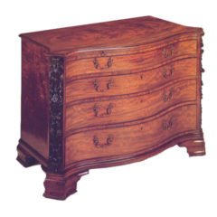Flamed mahogany chest of drawers Chippendale style (circa 1840-1860)