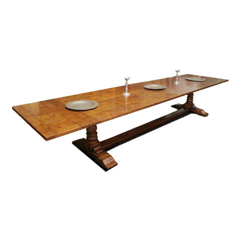 Long Dining Table with Push In Leaves