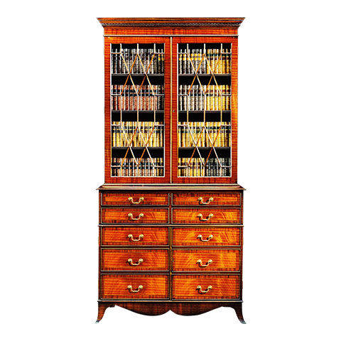 Mahogany 2 Door Secretaire Bookcase