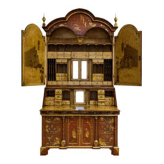 Red Painted Lacquered Bureau Bookcase