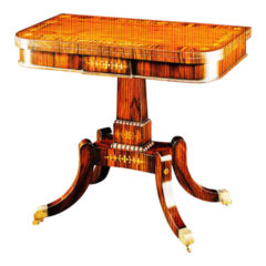 Rosewood Brass Inlay Card Table