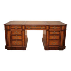 Satinwood Pedestal Desk with Rosewood Bandings (Circa 1960)