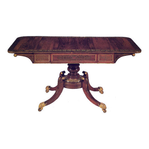 Sofa Table, Rosewood and Brass Inlay