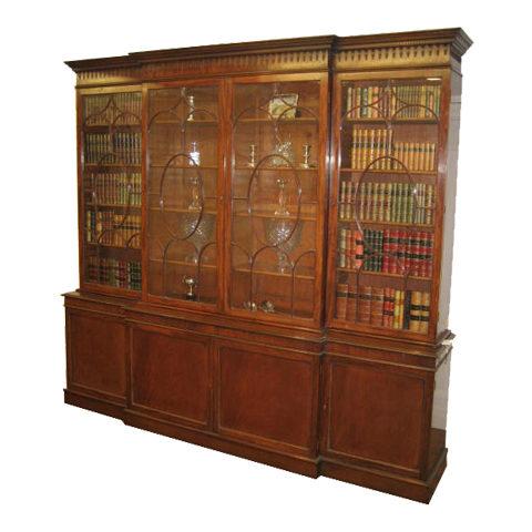 Totally restored Victorian Mahogany breakfront bookcase
