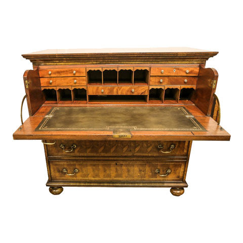 """Unusual Yew - Wood """"Oyster"""" Secetaire Circa 1840"""