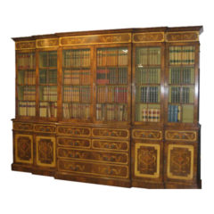 Very Large Marquetry Breakfront Bookcase