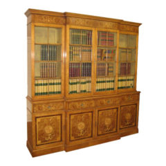 Very Ornate Marquetry Maple Bookcase