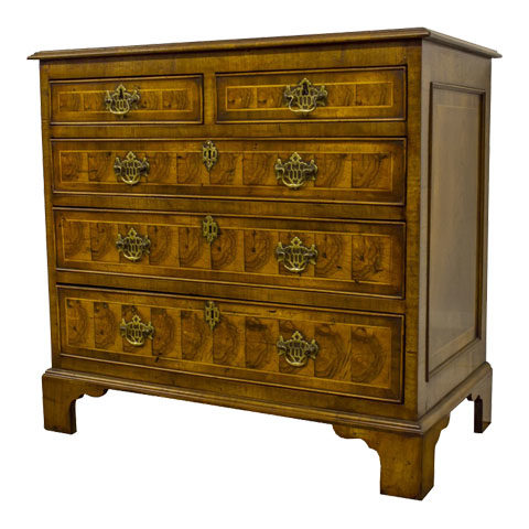 "Victorian Small Olive Wood ""Oyster"" Chest of Drawers Circa 1860"