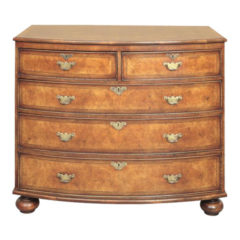 Walnut Bow Front Chest of Drawers