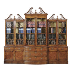 Walnut Breakfront Bookcase